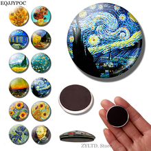 Van Gogh Art Fridge Magnet 30MM Starry Night Refrigerator Magnets Iris Sunflower Almond Stickers Decoration