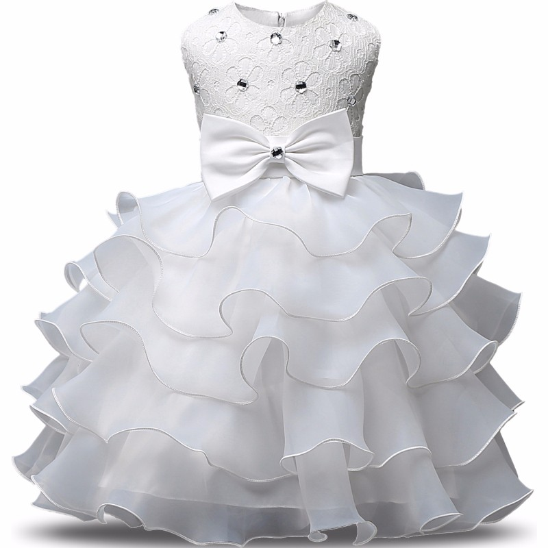 0-2 Years Big Bow Baby Girl Clothes Summer Girls Lace Flower Ball Gown One Year Birthday Girl Dress Bebes Fille Robe De Bapteme