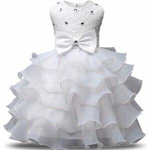 Bebes Fille Robe De Bapteme платье для девочек, лето От 0 до 2 лет, кружево, цветы, бальное платье, день рождения
