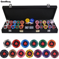 200-500PCS/LOT Round Peach Heart Coins Texas Hold\'em Ceramic Poker Chip Entertainment Party Club Chips Leather Suitcase Set