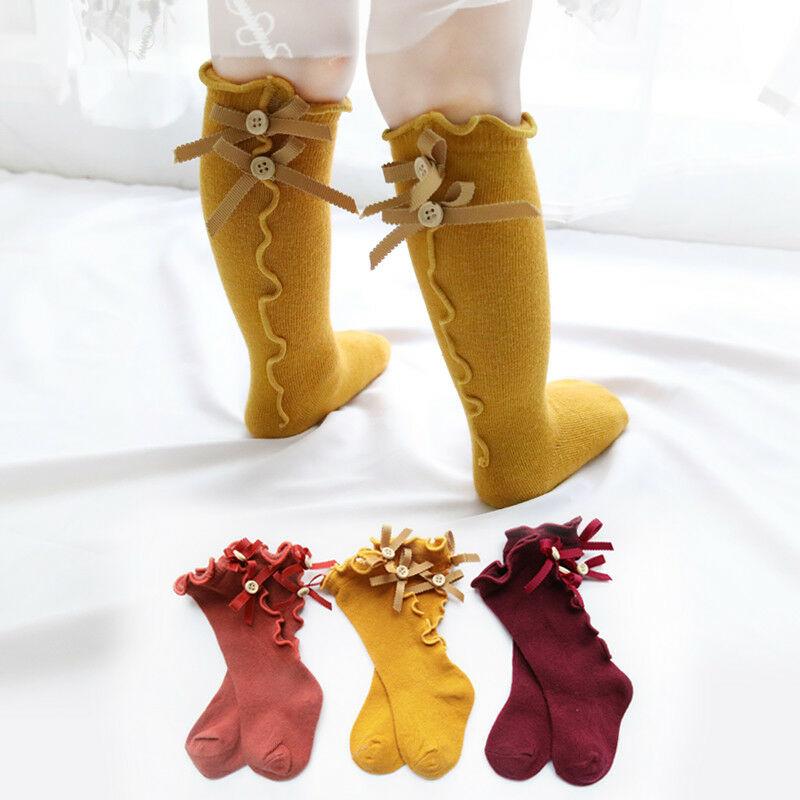 Infant Kids Girl Tights Warm Soft Knee High Socks Bowknot Baby Stockings Cotton Cartoon