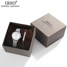 IBSO נשים של שעונים סט 8mm אולטרה דק כסף רשת נירוסטה רצועת קוורץ שעון שעות סטי גבירותיי יום הולדת מתנה