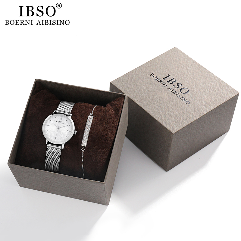 IBSO Women's Watches Set 8mm Ultra Thin Silver Mesh Stainless Steel Strap Quartz Clock Hours Sets Ladies Birthday Gift