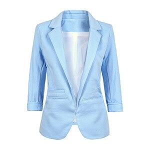 Image 4 - ผู้หญิง PLUS ขนาดสีเหลือง Blazer Feminino แจ็คเก็ตอย่างเป็นทางการสีขาวผู้หญิง Blazer หญิงสีฟ้าชุดสตรีสุภาพสตรี 2018