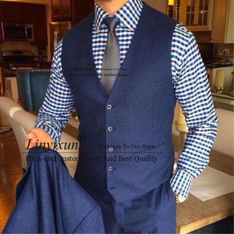 Handsome Style Custom Made Groom Wear Dark Gray Vintage Herringbone Tweed Vest for Rustic Wedding Jacket+Pant+Vest costume homme