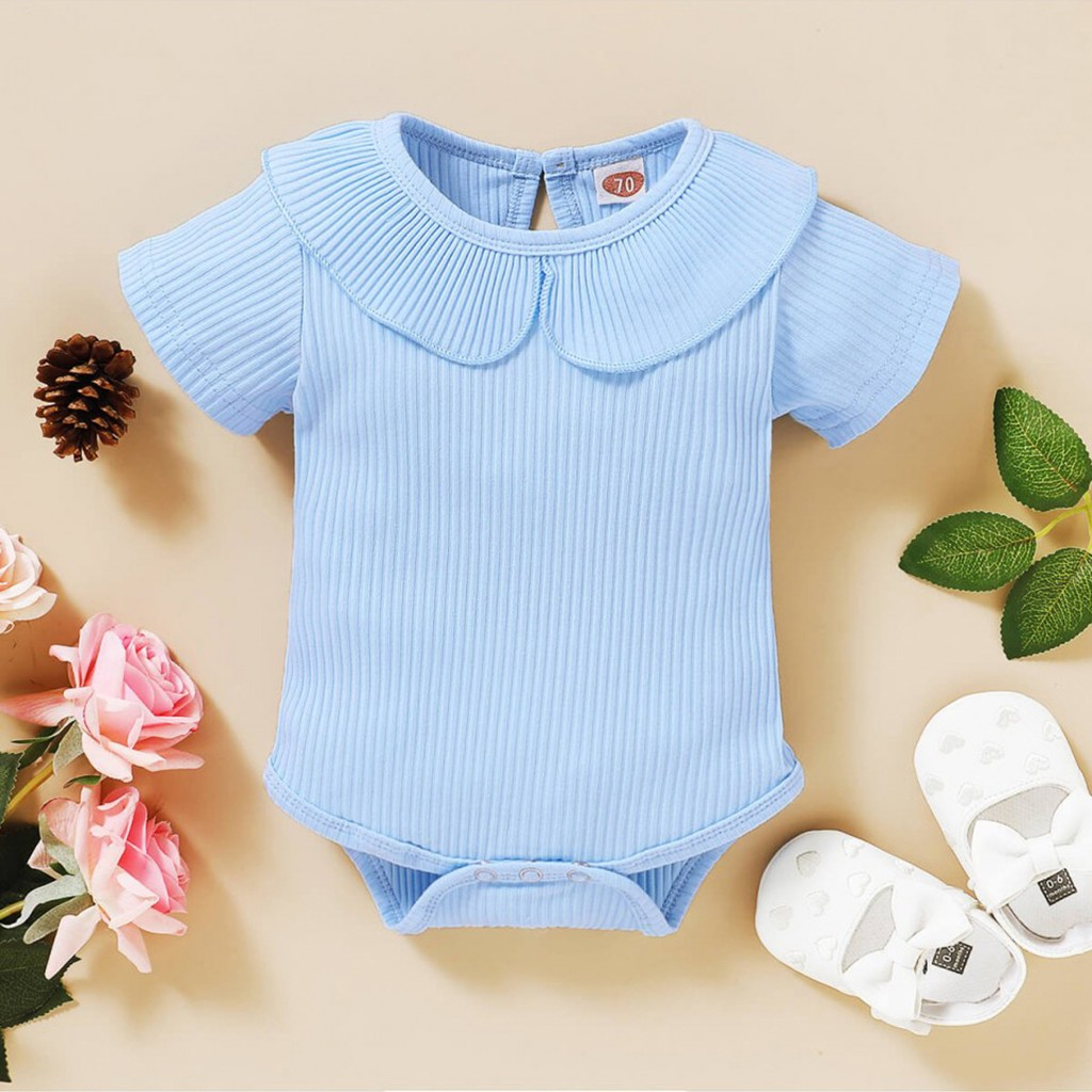 Todder Baby Girl Soft Knitted Ruffle Sleeve Romper Bodysuit Tops Jumpsuit Floral Harm Short Pants Summer Clothes Outfits