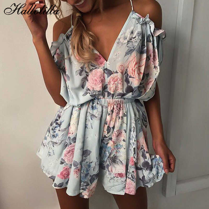 Bohemian Style Playsuit Floral Print Sexy Rompers Short Overalls Top Macacao Feminino Women Clothes Casual Summer Beach Jumpsuit