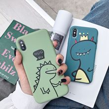 Creative Cartoon Dinosaur Phone Case for iPhone 11 12pro 12mini Soft Silicone Shell for iPhone 7 8 XR XS 7/8Plus Phone Cover Ins