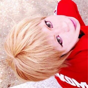Haikyu!! Volleyball Morisuke Yaku Short Linen Blonde Heat Resistant Hair Cosplay Costume Wig + Track + Wig Cap цена 2017