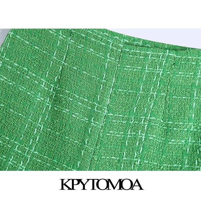 KPYTOMOA Women 2021 Chic Fashion With Lining Tweed Shorts Vintage High Waist Back Zipper Female Short Pants Mujer 3