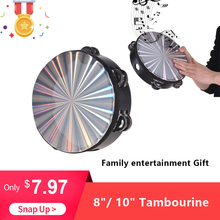 8″/ 10″ Wooden Radiant Tambourine Handbell Hand Drum with Double Row Jingles Reflective Drum Head Percussion Instrument Toy Hot