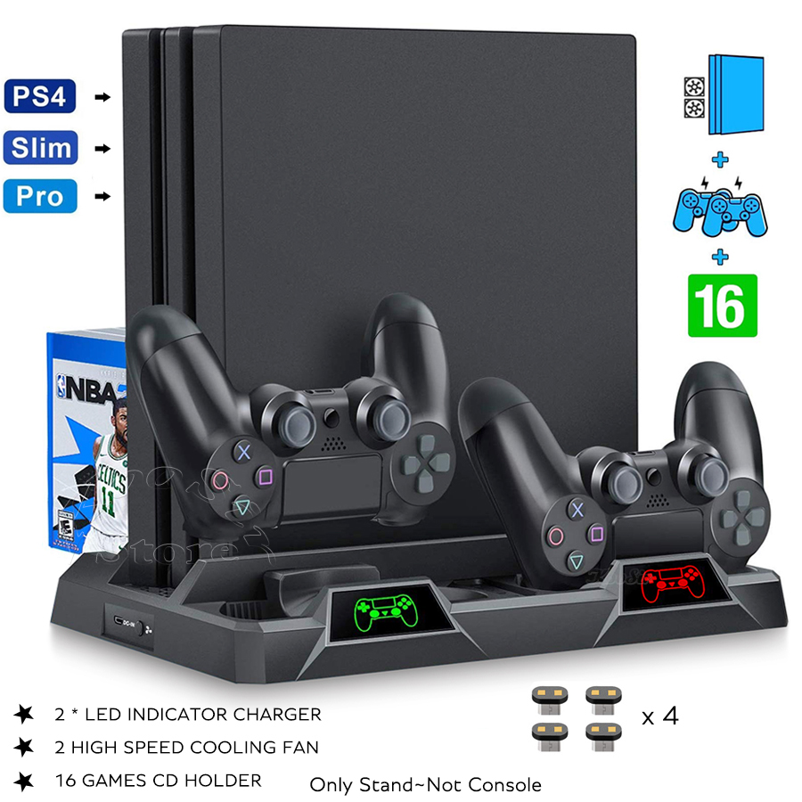 PS4/Pro/Slim Console Cooling Fan Stand Controller Charger Charging Station Games Discs Storage for Play Station PS 4 Accessories image