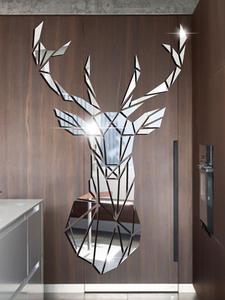 Decorative Mirror Wall-Stickers Deer Living-Room Big Diy Acrylic for Kids