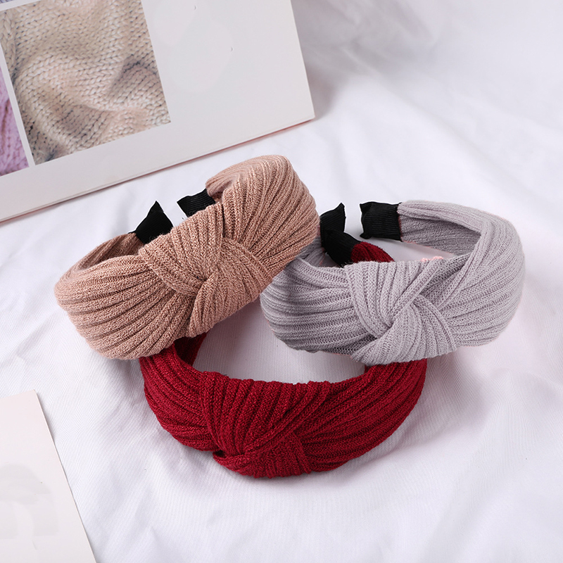 Autumn Winter Retro Knitting Headband Women Knotting Wide-brimmed Head Hoop Turban Girls Knot Hairband Hair Accessories   Headwear