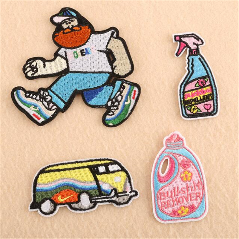 1PCS New cartoon <font><b>bus</b></font> character clothing embroidery decoration <font><b>patch</b></font> jacket backpack washable badge <font><b>patch</b></font> stripe decal image