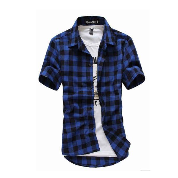 Camisa a cuadros roja y negra para hombre, camisas de moda de verano 2019, camisas a cuadros para hombre, camisa de manga corta, blusa para hombre