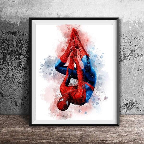 Акварельная картина Marvel с изображением супергероя фильма Мстители Железный человек зеленый гигантский холст для детской комнаты Декор без...