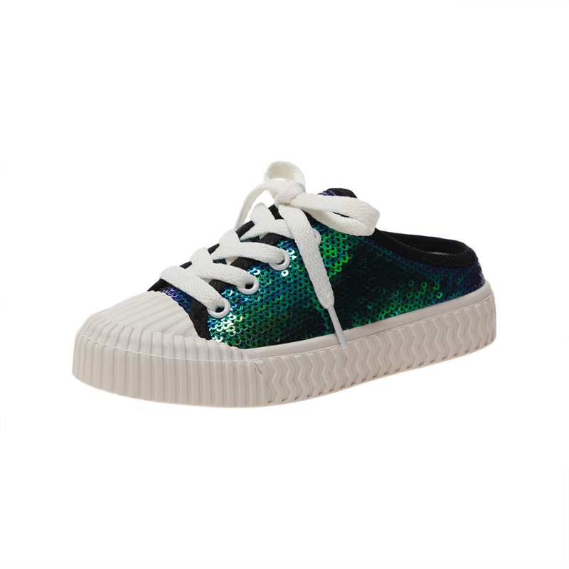 Autumn New Korean Sequins Girls Canvas Shoes Lace Up Casual Shoes Fluorescent Green Sneakers For Boy Girl Kids Sports Shoes