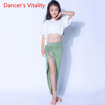 Dance Performance Dress Children's Solid Color Belly Skirt Girl's training Suit Off ShoulderTop Set Kids Oriental DanceSET - discount item  22% OFF Stage & Dance Wear