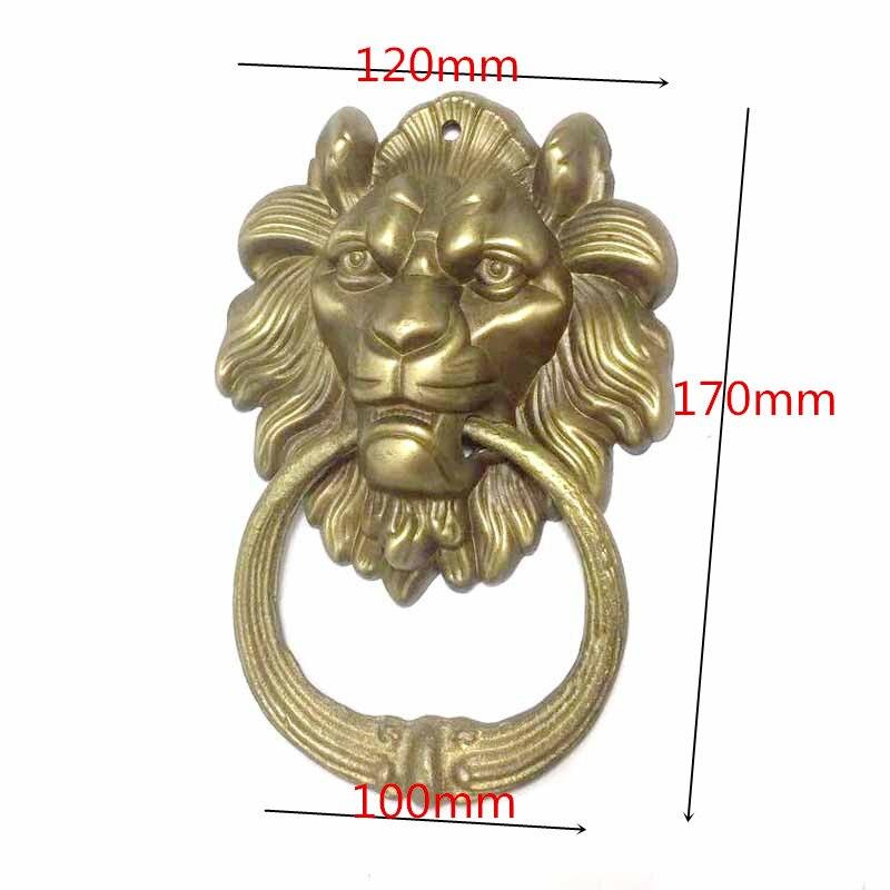1Pcs Vintage Brass Die Casting Lion Head Door Knocker Solid Wood Villa Courtyard Gate Ring Door Handle Pulls Knob Decoration