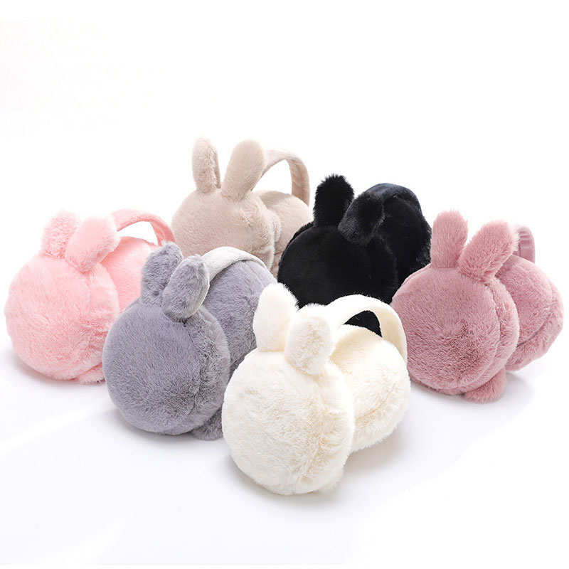 Lady'S Winter Cute Rabbit Ear Plush Fur Earmuffs Collapsible Ear Cover Portable With New Cold Protection Warm Fluffy Ear Muffs