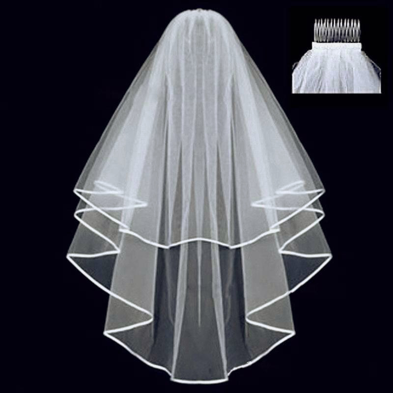 Short Two Layer Tulle Wedding Veils  With Comb Hot Selling White Ivory Bridal Veil for Bride for Marriage Wedding Accessories