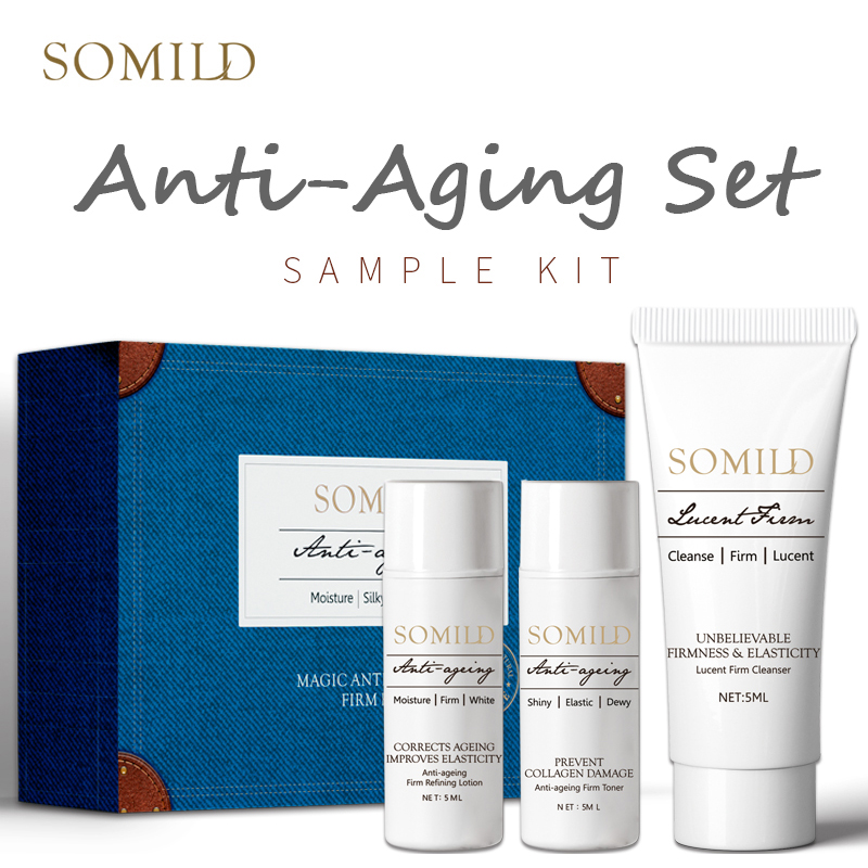 SOMILD Anti-aging Skin Care Set Travel Suit Vitamin E Face Lotion Age Defense Cream Deep Clean Facial Cleanser Korean Essence