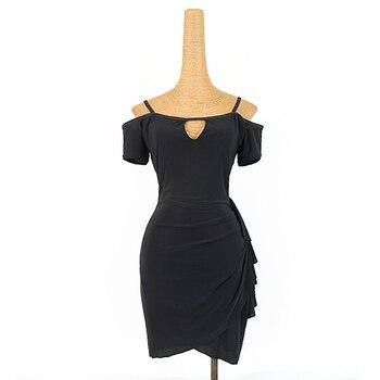 Latin Dance Clothes Summer Short Sleeve Black Practice Dress Latin Competition Dresses Rumba Tango Samba Salsa Clothing DQL3328