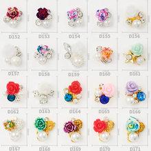 10 pçs de alta qualidade nova resina do prego flor pérola strass acessórios liga strass 3d charme diy arte do prego jóias decoração