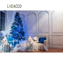 Laeacco Room Interior Christmas Tree Lamps Bear Toy Photography Backgrounds Customized Photographic Backdrops For Photo Stadio
