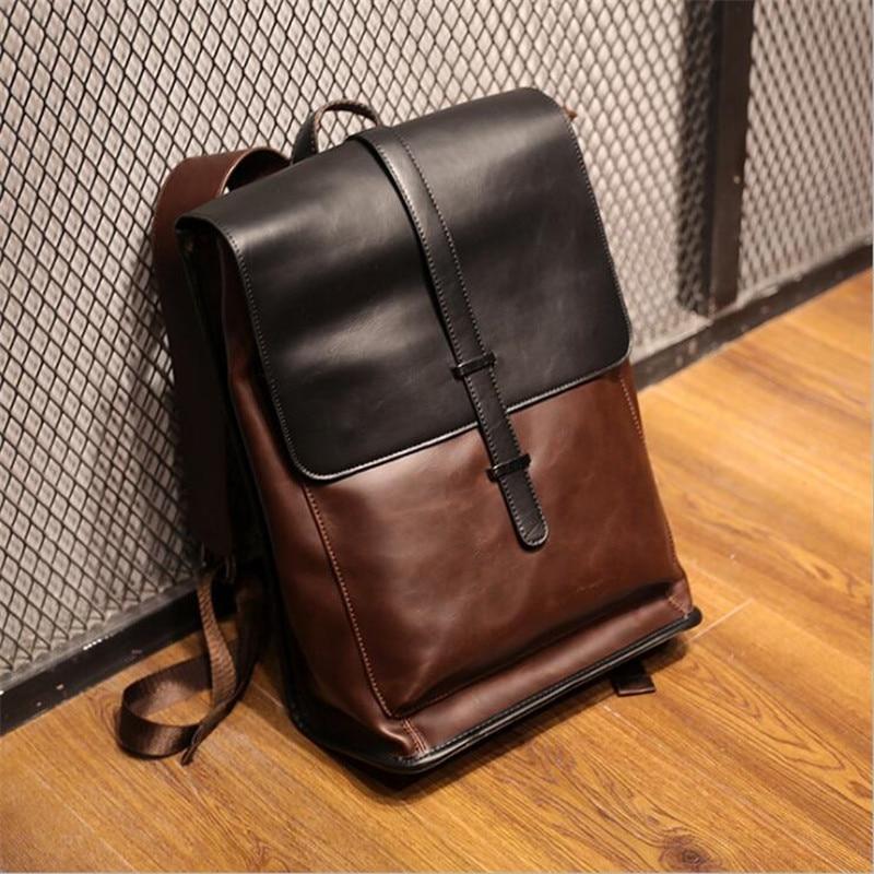 Vintage Laptop Crazy Horse PU Leather Backpacks For School Bags Men Travel Leisure Backpacks Retro Bag Schoolbags Teenager 2019