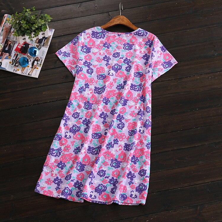 17 New Style Cotton Short Sleeve Pajamas Cute Cartoon Tracksuit Women's Large Size Nightgown Printed Pajamas