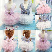 Летнее кружевное платье принцессы для собак, одежда для маленьких собак для вечеринки, дня рождения, свадьбы, с бантом, костюм для щенков, Весенняя Одежда для питомцев