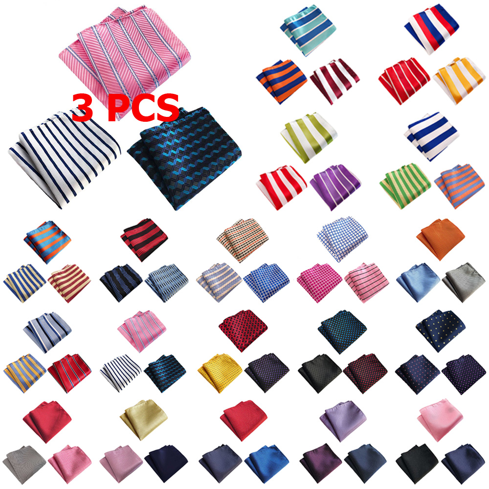 3 PCS Men Classic Stripe Solid Color Pocket Square Handkerchief Wedding Hanky