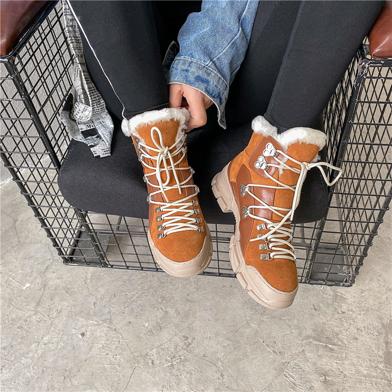 FEDONAS Cross Tied Women Quality Genuine Leather Ankle Boots Casual Office Shoes Woman Winter Vintage Warm Female Snow Boots 42