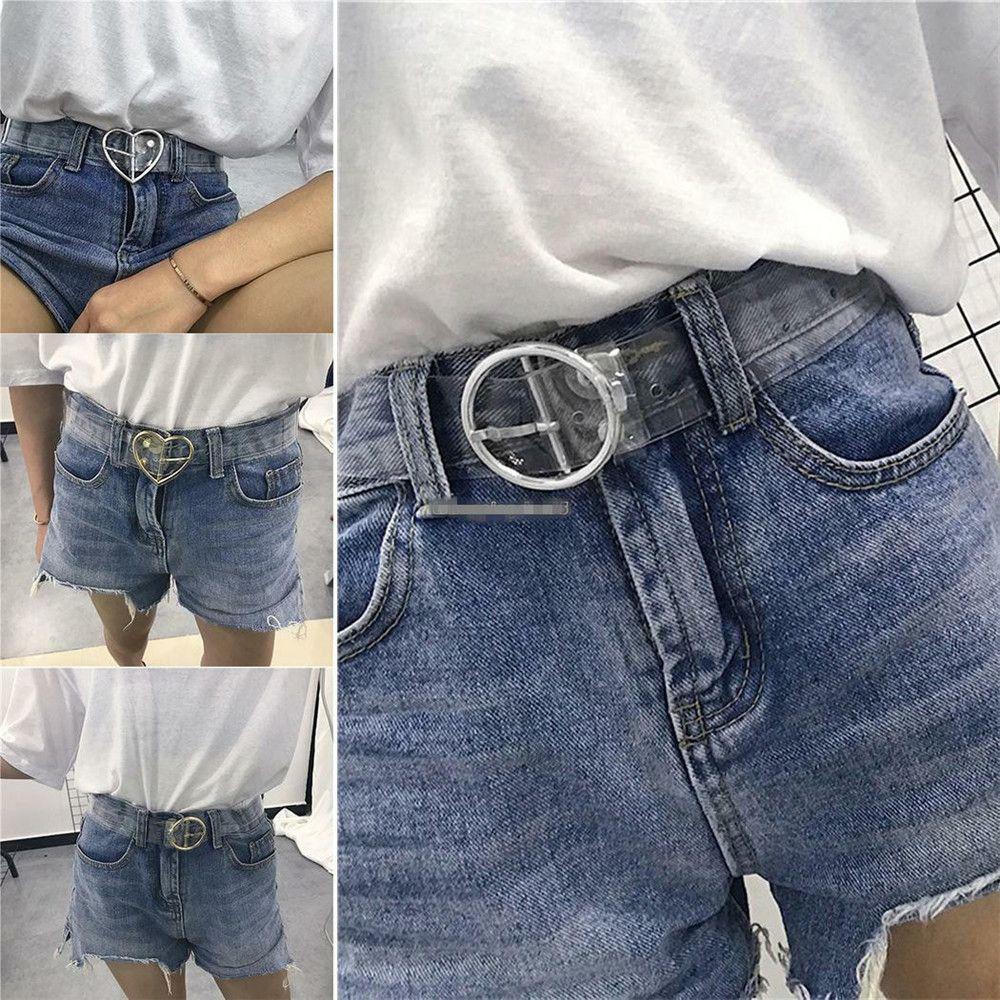 Hot Women Waist Belt Heart Belts For Women Resin Transparent Long Adjustable Belt Pin Buckle Harajuku Ladies Transparent Belt