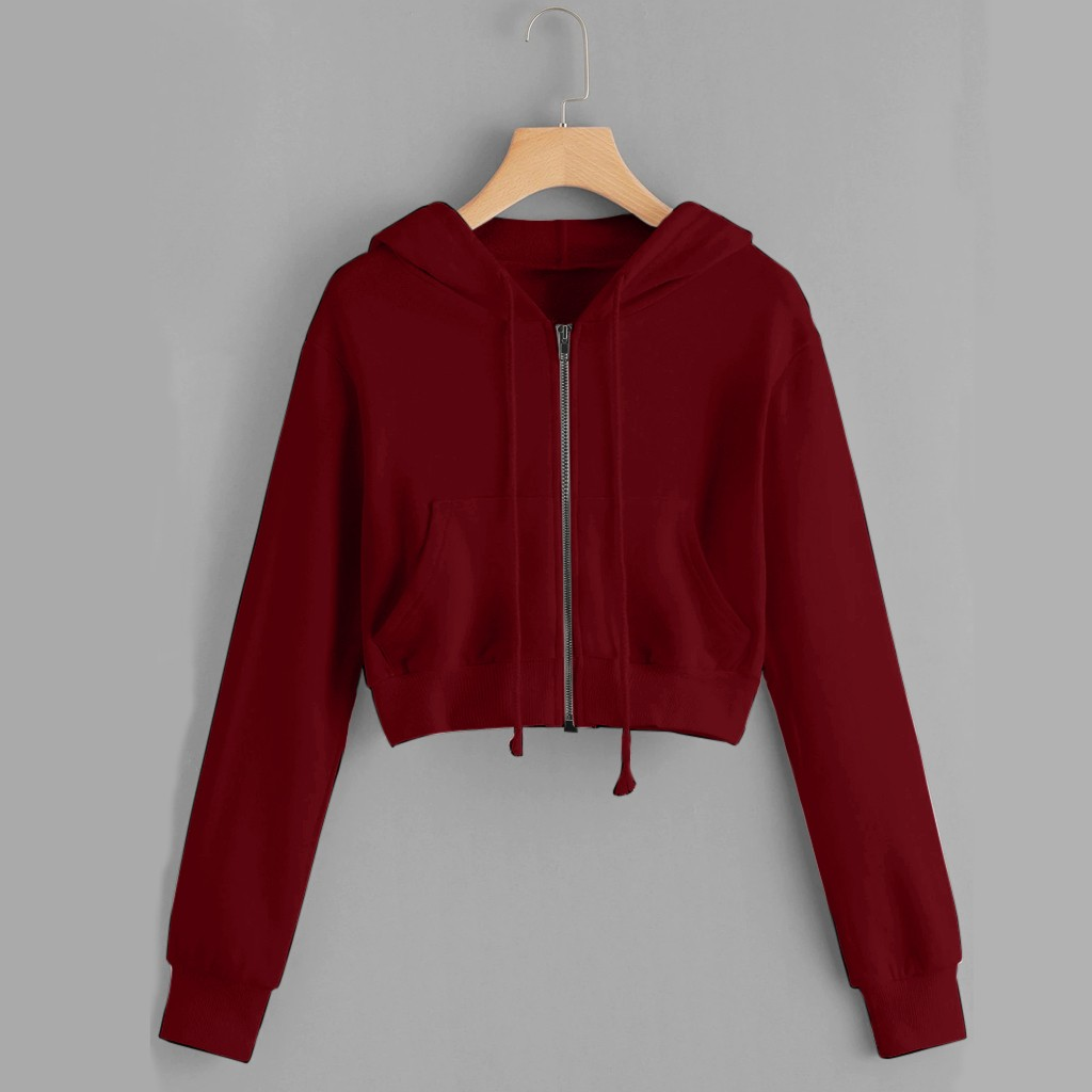 Women Hoodies Sweatshirt Casual Solid Long Sleeve Zipper Up Pocket Coat Hooded Sweatshirt Cropped Top Hoodie Bluza Damska  #38