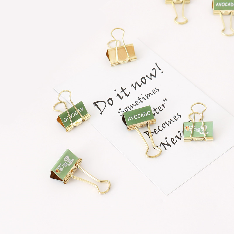 TUTU 6pcs /box Fashion Gold Avocado Season Fruit Binder Clip  Metal Binder Clips Photos Tickets Notes Letter Paper Clip H0327