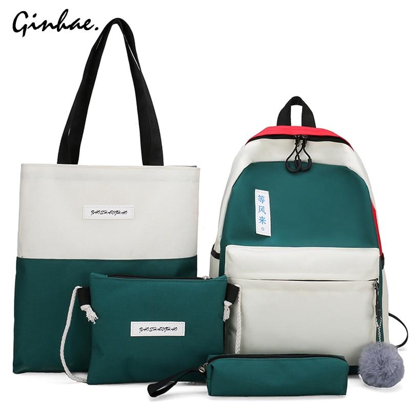 Canvas Panelled Large Capacity Shoulder Bags Women 4pcs/set Patchwork Backpack School Bags For Teenage Purse Girls Pencil Case