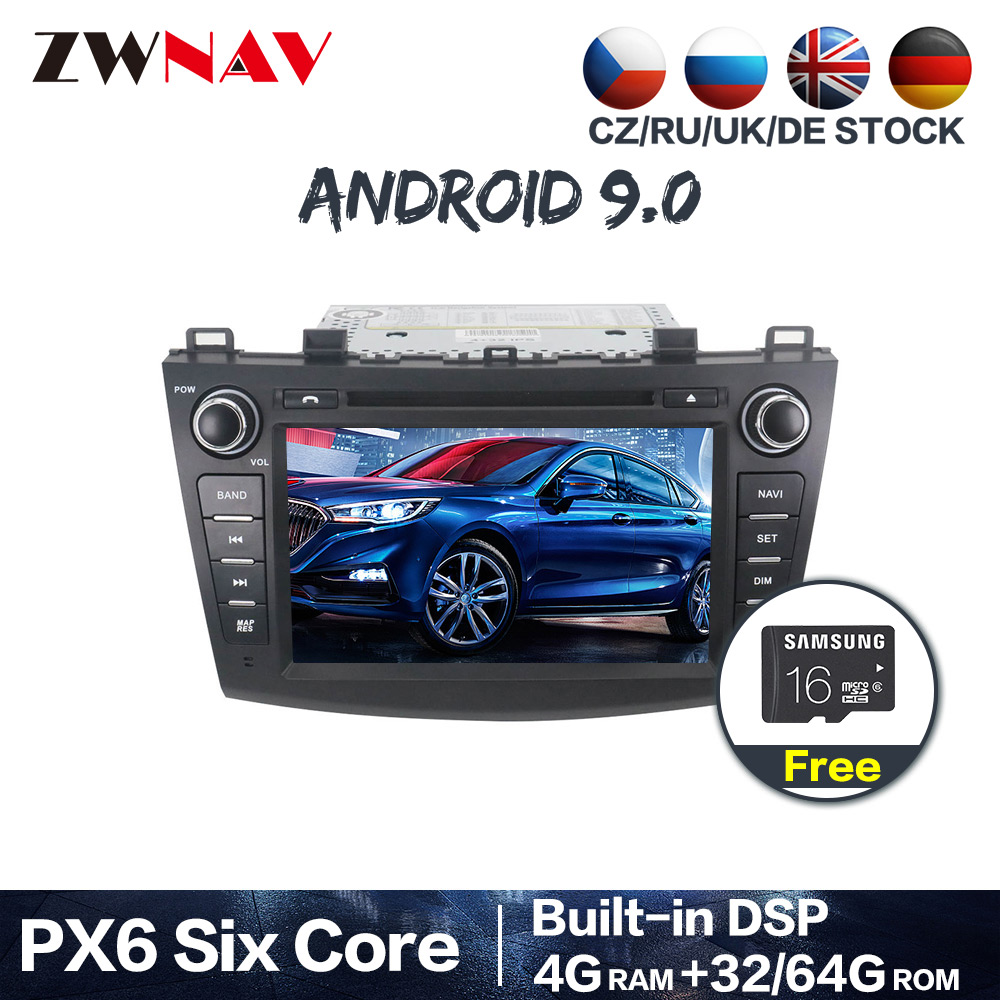 PX6 DSP IPS 4+64 Android 9.0 Car <font><b>GPS</b></font> Navi Radio Audio stereo For <font><b>Mazda</b></font> <font><b>3</b></font> Axela 2009-2012 DVD multimedia Player headunit free <font><b>map</b></font> image