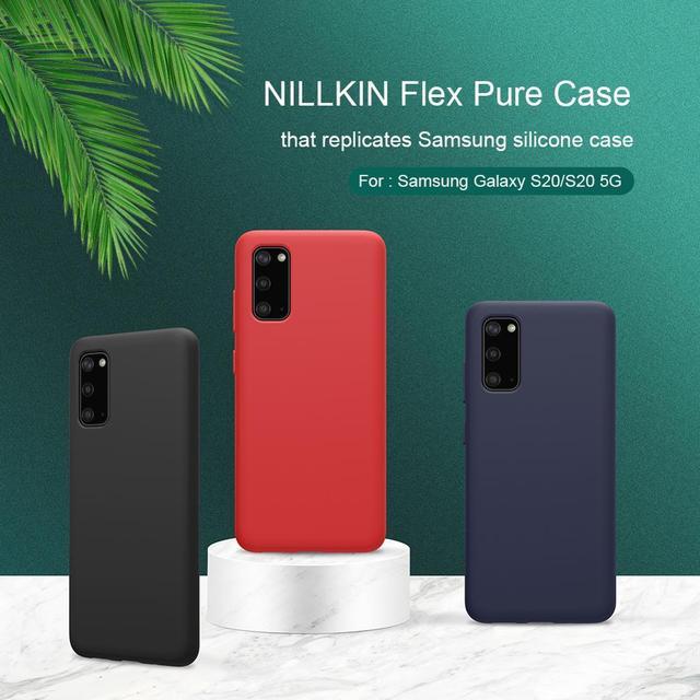 NILLKIN フレックス純粋なサムスンギャラクシー S20/S20 プラス/S20 ウルトラカバー液状シリコーン保護バックカバー電話ケース