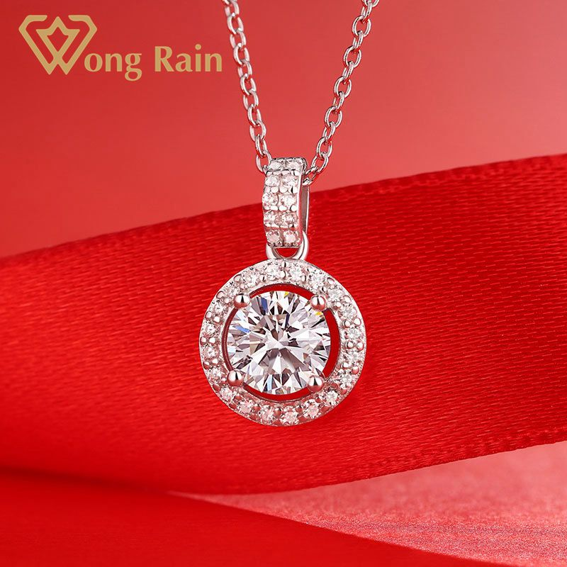 Wong Rain Classic 925 Sterling Silver 1 CT Real Moissanite Gemstone Wedding Engagement Pendent Necklace Fine Jewelry Wholesale