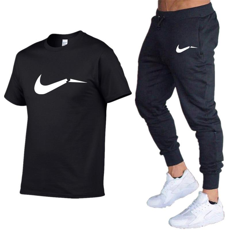 2019 New Cotton T-shirt Pants Men's Sets Letter Print Men Brand Clothing Two Piece Suit Men Sportswear Tracksuit Jogger Sets