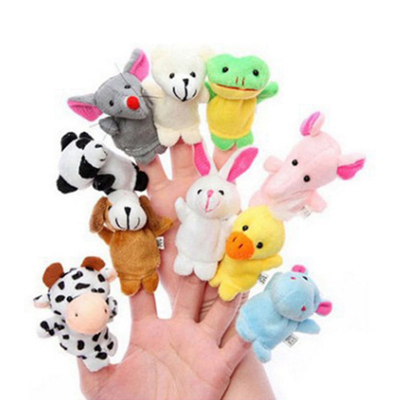 12pcs Finger Puppet Animal Toy Plush Doll Baby Educational Play Learn Storys