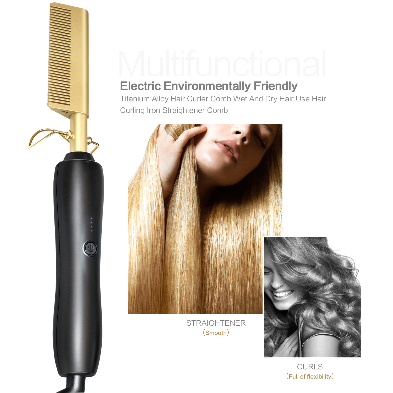 Hair Curler Iron Comb Wet Dry Hair Use Hair Curling Iron Straightener Comb Straightening Brush Electric Hot Comb Titanium Alloy
