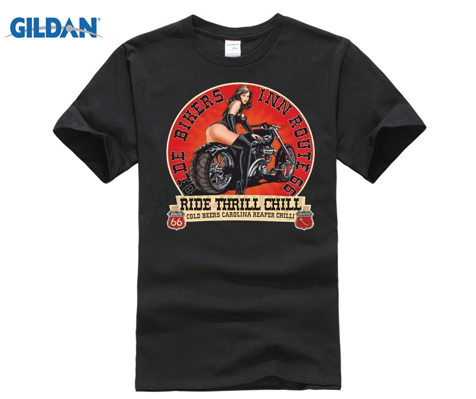 HOT deals 2018 Brand Men Fashion Pure Cotton Round Collar Bikers Inn <font><b>Route</b></font> <font><b>66</b></font> <font><b>T</b></font> <font><b>Shirt</b></font> Motorcycle Motor Biker Easy Rider Chopper image