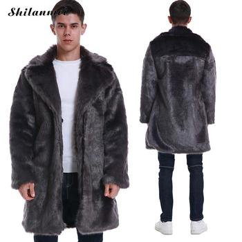 2019 New Winter Men's Turn-down Collar Faux Mink Fur Coat Luxury Long Faux Fur Outwear Thick Warm Loose Casual Men Fake Fur Coat