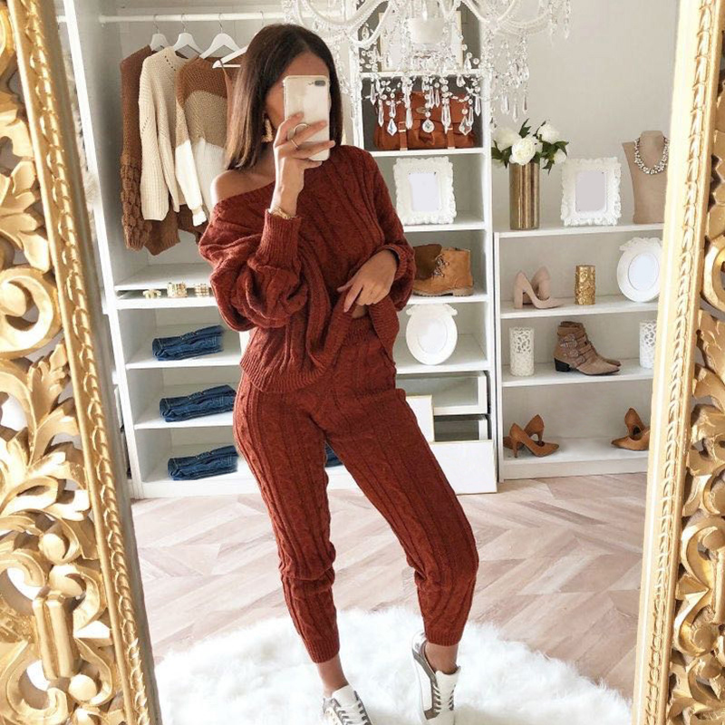 Autumn Winter Women Knitted Two Piece Set Sweater Tops Pants Cable Knit Twisted One Shoulder Long Sleeve Casual Suits Plus Size