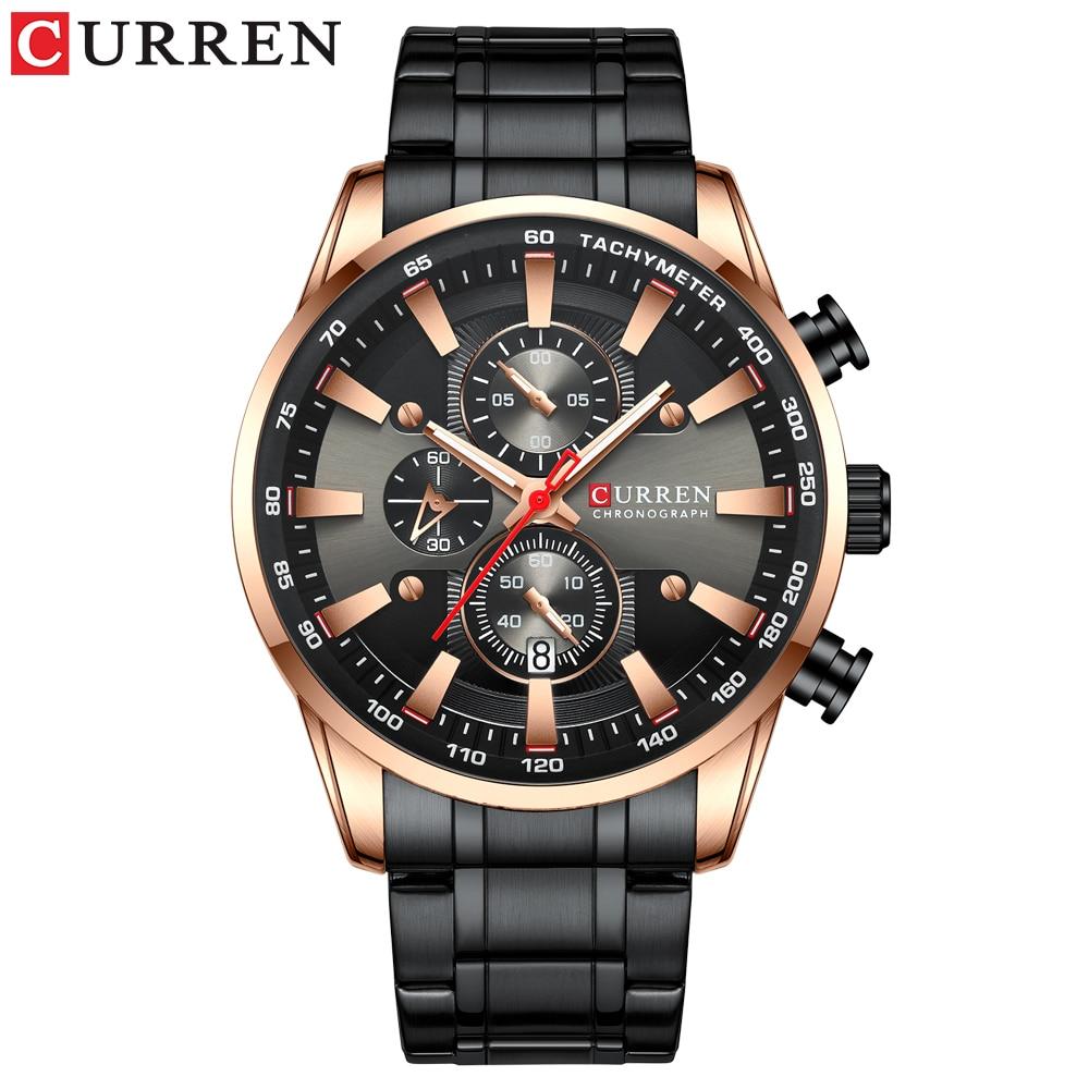 CURREN Black Gold Watch for Men Fashion Quartz Sports Wristwatch Chronograph Clock Date Watches Stainless Steel Male Watch