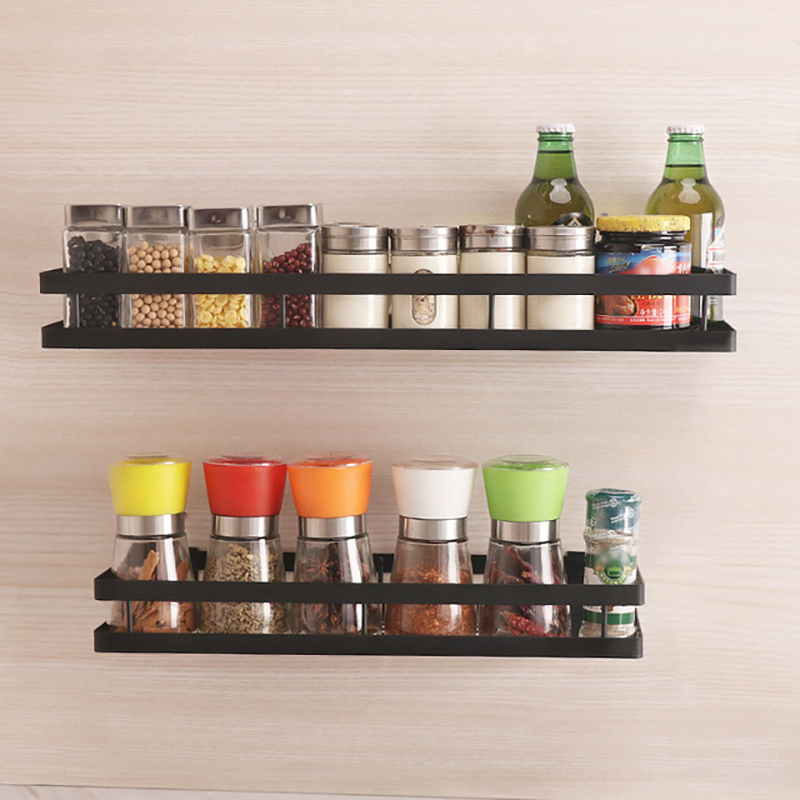 Wall Mounted Kitchen Jar Spice Rack Storage Organizer Multi-purpose Holder Shelf